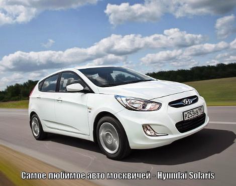 Лидером рейтинга популярности среди москвичей стал Hyundai Solaris