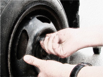 установка колеса