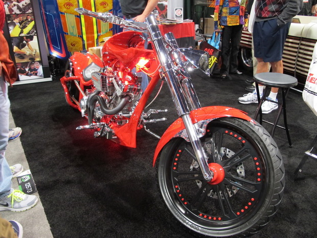 red motorcycle on SEMA 2013