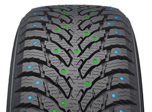 Для шины используются два вида шипов - для центральной части протектора и для плечевых зон